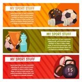 Vector banners with sport icons. Sport and fitness. Ball, weight, dumpbell, award, gold cup. Vector banners with sport icons Royalty Free Stock Photography