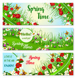 Vector banners with spring time greeting quotes. Hello Spring vector banner set. Springtime blooming flowers and greeting quotes. Welcome Spring Time floral Royalty Free Stock Photography