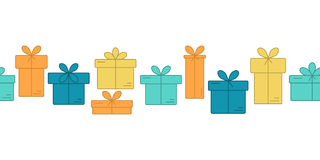 Vector banners with thin line icons of gift boxes. Stock Photography