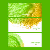 Vector banners with watercolor green and yellow Royalty Free Stock Photography