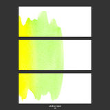 Vector banners with watercolor green and yellow. Royalty Free Stock Photo
