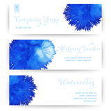 Vector banners with watercolor stain like coral. Abstract waterc Royalty Free Stock Photo