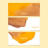 Vector banners with watercolor yellow and brown Stock Photos