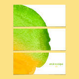 Vector banners with watercolor  yellow and green Royalty Free Stock Photo