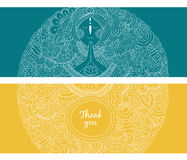 Vector banners with woman praying. On blue and yellow background Stock Images