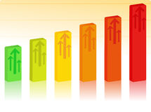 Vector Bar graph. Rising Bar Graph with Arrows Royalty Free Stock Photo
