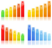 Vector Bar graphs. Bar Graphs on white background Royalty Free Stock Photos