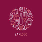 Vector bar logo in linear style Royalty Free Stock Photography