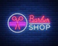 Vector a barbearia do sinal de néon do logotipo para seu projeto Para uma etiqueta, um sinal, um sinal ou uma propaganda Homem do Imagens de Stock