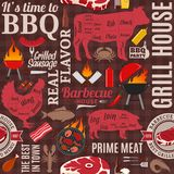 Vector barbecue seamless pattern or background. BBQ, meat, vegetables, beer and equipment icons for cafe, bar and restaurant menu, branding and identity Royalty Free Stock Photos
