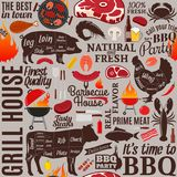 Vector barbecue seamless pattern or background. BBQ, meat, vegetables, beer and equipment icons for cafe, bar and restaurant menu, branding and identity Royalty Free Stock Images