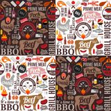 Vector barbecue seamless pattern or background. BBQ, meat, vegetables, beer and equipment icons for cafe, bar and restaurant menu, branding and identity Royalty Free Stock Photo