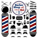 Vector Barber Shop accessories set. With silhouettes of  instruments,  pole, hairstyles. Vintage style. Stock Photos