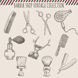 Vector barber shop vintage tools collection.  Pencil hand drawn illustration Royalty Free Stock Image