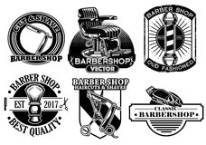 Barbershop badge design set