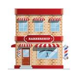 Barbershop building. Vector of barbershop building in classic style vector illustration