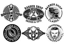 Barbershop concept badge design set