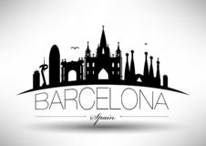 Vector Barcelona City Skyline Design stock illustration