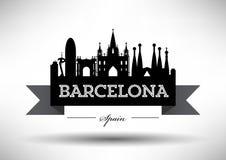 Vector Barcelona City Skyline Design royalty free illustration