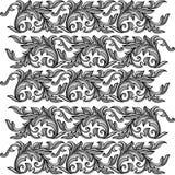 Vector barocken nahtlosen Rüttler der Stich-Blumenverzierung der Weinlese Lizenzfreie Stockfotos