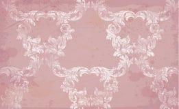 Vector Barok patroon in roze kleur Met de hand gemaakte decors Stock Afbeeldingen