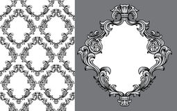 Vector baroque acanthus leaves frame seamless pattern. Vector illustration of baroque acanthus leaves frame seamless wallpaper pattern with single frame element Stock Image