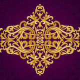 Vector baroque endless border in Victorian style. Element for design. Place for your text. It can be used for decorating of wedding invitations, greeting cards Royalty Free Stock Photo