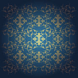 Vector baroque flowers background blue Royalty Free Stock Photos
