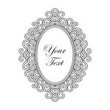 Vector baroque frame with vertical oval ornament with text, decorative vintage design elements Royalty Free Stock Images