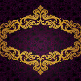 Vector baroque frame in Victorian style. Element for design. You can place the text in an empty frame. It can be used for decorating of invitations, greeting Royalty Free Stock Photo