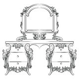 Vector Baroque furniture Dressing Table and mirror frame. French Luxury rich carved ornaments furniture. Victorian Royal Style furniture Stock Images