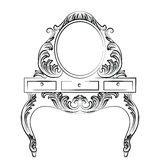 Vector Baroque furniture Dressing Table. And Round mirror frame. French Luxury rich carved ornaments furniture. Victorian Royal Style furniture Stock Photo