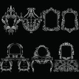 Vector Baroque furniture set. French Luxury rich carved ornaments furniture.Victorian Royal Style furniture. White on black Stock Photos