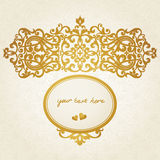 Vector baroque ornament in Victorian style. Element for design. You can place the text in an empty frame. It can be used for decorating of invitations, greeting Stock Images