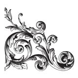 Vector baroque ornament in victorian style. Vintage baroque frame scroll ornament engraving border floral retro pattern antique style acanthus foliage swirl stock illustration