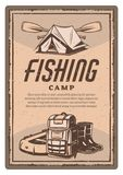 Vector a barraca do fisher, as botas e o cartaz do vintage do barco Fotografia de Stock Royalty Free