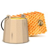 Vector Barrel with Honeycombs Royalty Free Stock Photos
