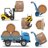 Vector Barrels Shipping Icons Royalty Free Stock Photos