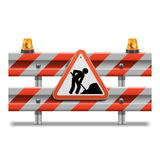 Vector Barrier with Sign and Beacon. On white background royalty free illustration