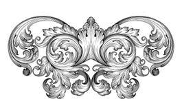 Vector barroco del ornamento de la voluta del marco del vintage ilustración del vector