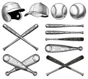 Vector Baseball Equipment illustrations Royalty Free Stock Photo