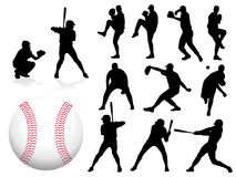 Vector Baseball Players. Baseball Player Silhouettes - Vector / Eps8 Royalty Free Stock Image
