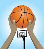 Vector basket. Illustration of a basketball player shooting Stock Photography