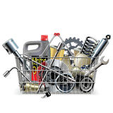 Vector Basket with Car Spares Rollermechanism vector Royalty Free Stock Photo