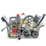 Vector Basket with Car Spares Royalty Free Stock Photography