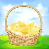 Vector basket with cheese Stock Photography
