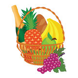 Vector of a basket of food Royalty Free Stock Photo