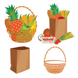 Vector of a basket of food Royalty Free Stock Image