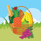 Vector of a basket of food Royalty Free Stock Images