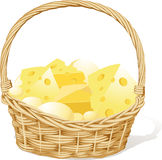 Vector basket fool of cheese  on white Stock Photo